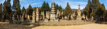 Shaolin Temple Monk Cemetery. Memorial Pagodas Built Dedicated To The High Priest Of Shaolin Temple, Dengfeng County, Henan Province, China. Panorama View.