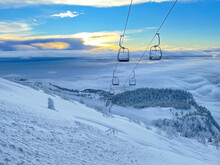 Spectacular View Of The Morning Sky And Ungroomed Slopes Of A Closed Ski Resort.