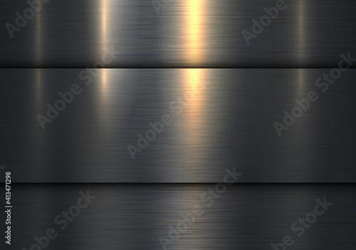 Fotografie, Obraz Dark 3D background, metallic old structure, brushed metal texture, interesting vector illustration