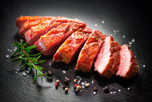 Close Up Of Sliced Roasted Duck Breast Fillet