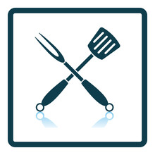 Crossed Frying Spatula And Fork Icon