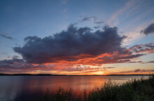 Cloud Over Man Made Fresh Water Reservoir During Sunset