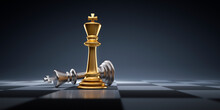 Silver And Golden Chess King - Business Leader Concept - Strategy Planning And Competition