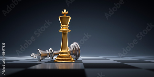Fototapeta Silver and golden chess king - Business leader concept - Strategy planning and c