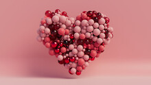 Multicolored Sphere Love Heart. Pink, Red Glass And Red Metallic Spheres Arranged In A Heart Shape. 3D Render