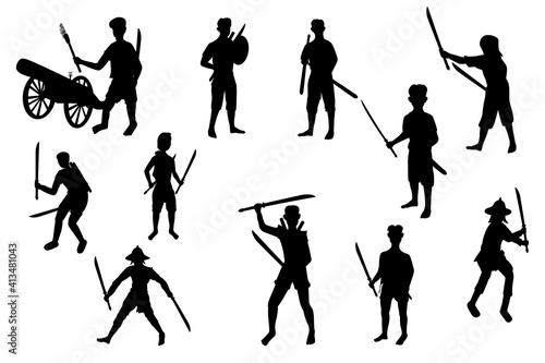 Fototapeta Ancient strong man warrior cartoon shape vector design