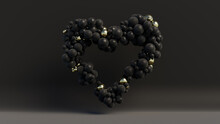 Multicolored Balloon Love Heart. Black And Gold Balloons Arranged In A Heart Shape. 3D Render