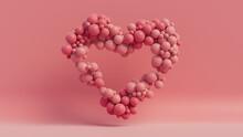 Balloon Love Heart. Pink Balloons Arranged In A Heart Shape. 3D Render