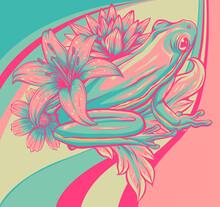 Flowers With Frog Vector Illustration Art Design