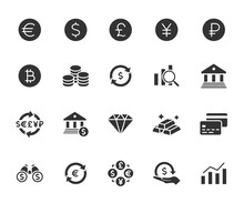 Vector Set Of Currency Flat Icons. Contains Icons Investment, Exchange Rate, Bank Deposit, Coin, Financial Forecast, Bank And More. Pixel Perfect.