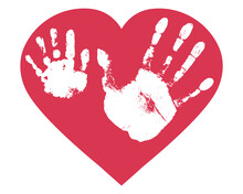 Handprints Of Son And Father In Heart Shape. Relationship Between Child And Father, Love. Imprint Of Baby Palm Hand And Man Palm. Vector Illustration