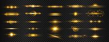 Set Of Golden Transparent Light Lens Flares Streaks