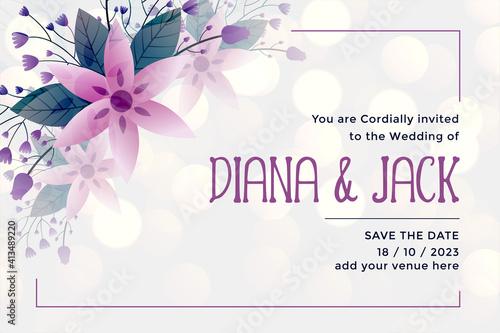 wedding invitation card template in flower style Fototapet