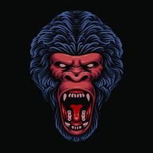 Dark Gorilla Head Vector Illustration
