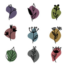 Set Of Colorful Icons With Black Flowers And Leaves