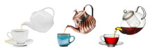 Pouring Of Tea From Different Teapots Into Cups On White Background