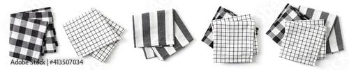 Obraz Cotton napkins isolated on white, from above - fototapety do salonu