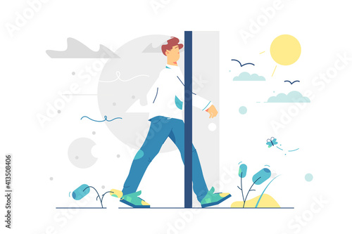 Slika na platnu Portal door to better living vector illustration