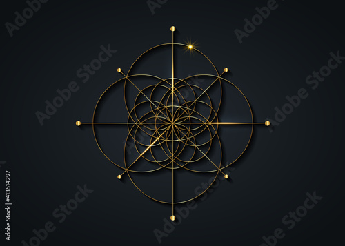 Canvas Print Gold Sacred Geometry, Seed of life symbol