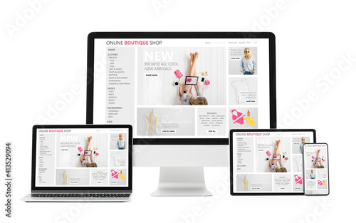 Obraz Adaptive and responsive web design concept showing sample website on different tech gadgets and screen sizes. - fototapety do salonu