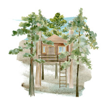 Watercolor Illustration Of A Tree House In The Forest.
