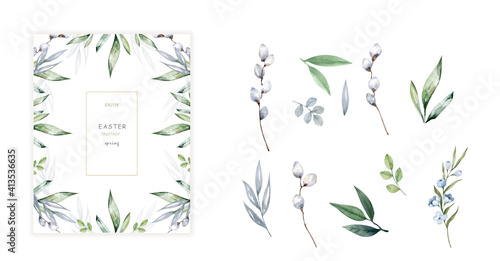 Obraz na płótnie Happy Easter cards with herbal twigs and branches wreath and corners border
