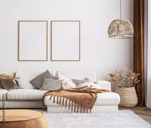 Cuadros en Lienzo Frame mockup in bright living room design, white sofa in farmhouse boho interior