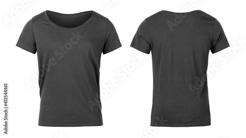 Fototapeta Realistic Grey unisex t shirt front and back mockup isolated on white background with clipping path. obraz na płótnie