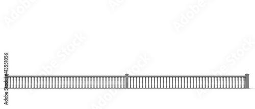Fotomural Maqueta 3D de una barandilla con balaustrada