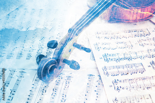 Obraz Old violin lying on the sheet of music, abstract watercolor concept - fototapety do salonu