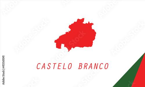 Photo Castelo Branco map Portugal region vector illustration.
