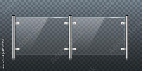 Canvastavla Glass or plexiglass fence with banisters