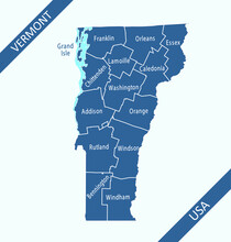 Vermont Counties Map Outlines Labeled