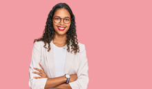Young African American Girl Wearing Business Clothes Happy Face Smiling With Crossed Arms Looking At The Camera. Positive Person.