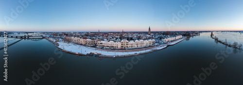 Foto Super wide panoramic aerial of Dutch Hanseatic medieval tower town Zutphen, The