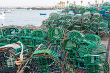 Ropes, Nets And Handcrafted Fishing Traps For The Octopus, Lobsters And Crabs In The Fishing Port Of Cascais, Portugal