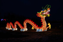 Glowing Chinese Dragon Lun At The Lantern Festival And Celebrating The Chinese New Year