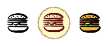 This Is A Set Of Icons With Different Hamburger Style. Outline, Color And Retro Hamburger Symbols. Freehand Drawing, Doodles. Stylish Solution For Website And Label.