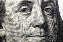 Close Up Portrait Of Benjamin Franklin On A 100 Dollar Bill