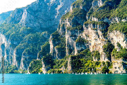 Fotografie, Obraz Sailing regatta on a beautiful mountain lake.