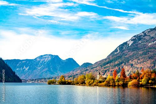 Obraz Travel Beautiful village Mountains landscape amazing autumn - fototapety do salonu