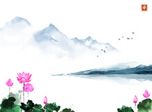 Oriental Landscape With Lotus Flowers And Blue Mountains. Traditional Oriental Ink Painting Sumi-e, U-sin, Go-hua. Hieroglyph - Happiness.