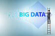 canvas print picture - Concept of big data and data mining with businessman