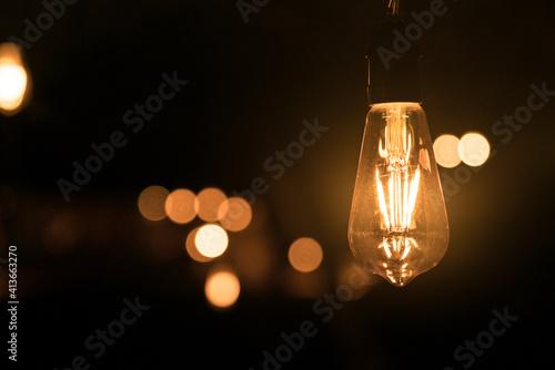 Valokuva conceptual edison light closeup with bokeh background