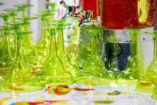 Green Margarita Glasses Flipped Over Unused