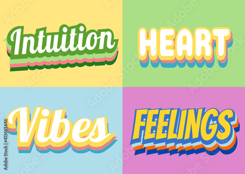feelings and vibes retro vintage message #413665646