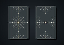 Set Magical Tarot Cards, Magic Occult Sacred Geometry Sign, Esoteric Boho Spiritual Symbols, Flower Of Life. Witch Icons, Seed Of Life Sacred Mandala. Vector Collection Isolated On Dark Background