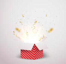 Open Red Box With Gold Confetti Explosion