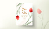 Fototapeta Tulips - Modern wedding invitation card with red tulip flower