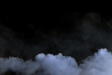 Abstract Illustration Of Clouds Of Smoke Against Black Background